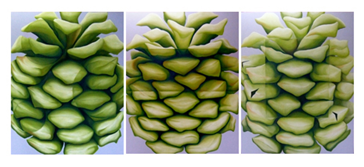 GH – 3 Cones – Triptych – Acrylic on Canvas